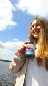I am lucky to live close to the water where we planned for a primary class reunion. Renate poses with a Hamburg beer, integrating very well.