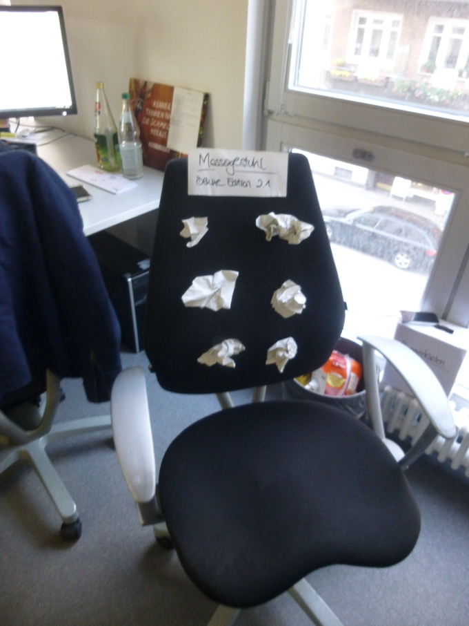 Ever since my colleagues went to the ifa fair and saw massage chairs, they want to get some but they're too expensive. As a token of appreciation, they made me this alternative version. Thanks I guess.