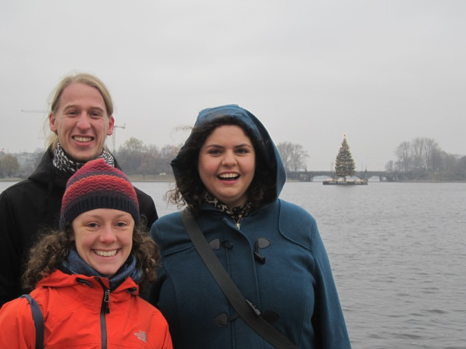 At the Alster Lake that has its own swimming Christmas tree