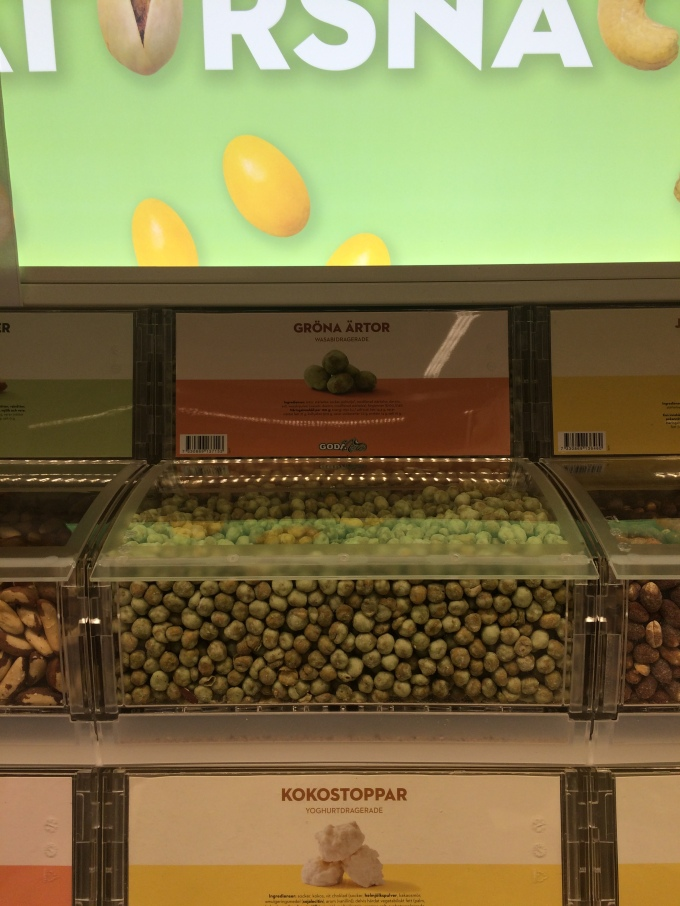 In the loose candy/snack section, you can now get peas.