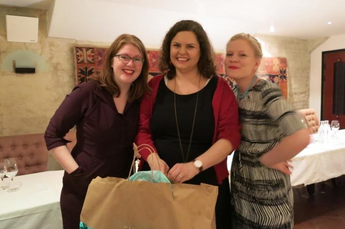 Magda, giant present bags, me, Martina
