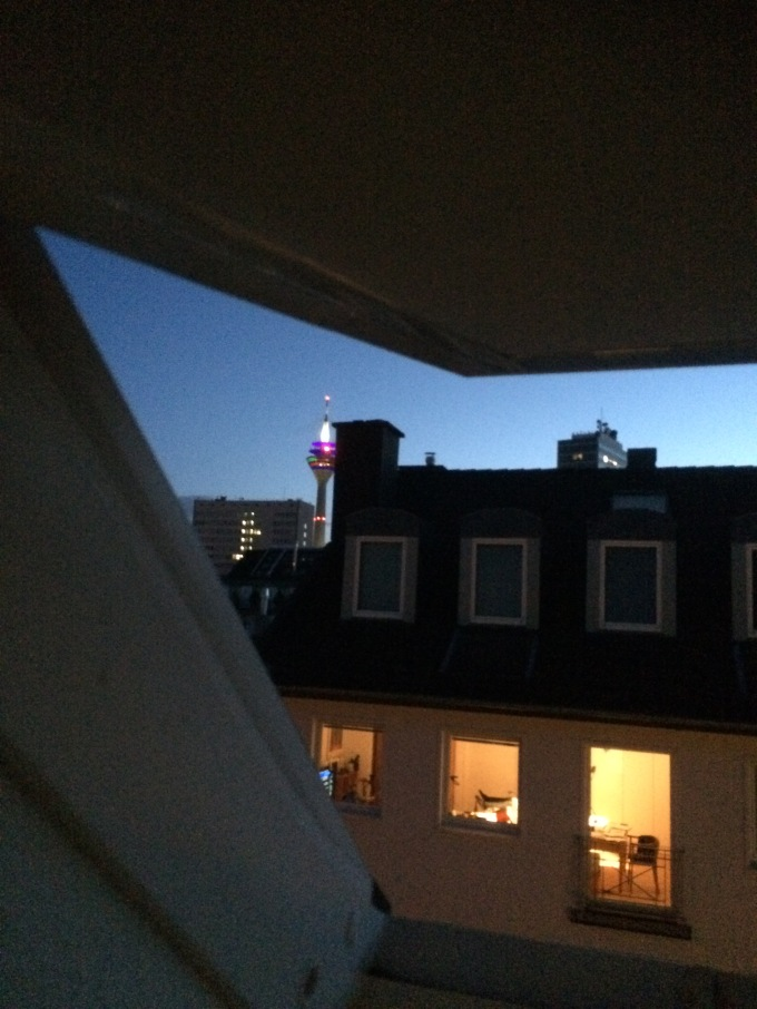 From where I currently reside, you can see the Rhine Tower, a landmark, from my window. That is one of the good things.