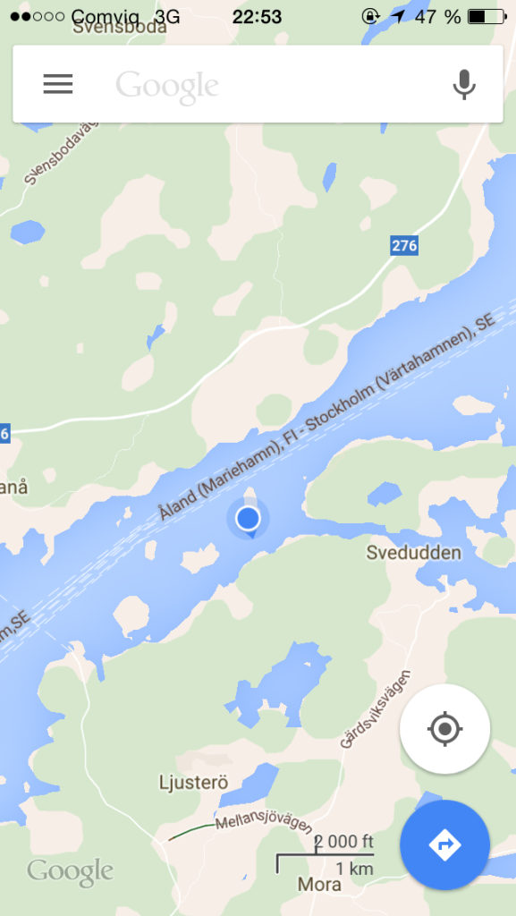 This is where we were stranded (blue dot)