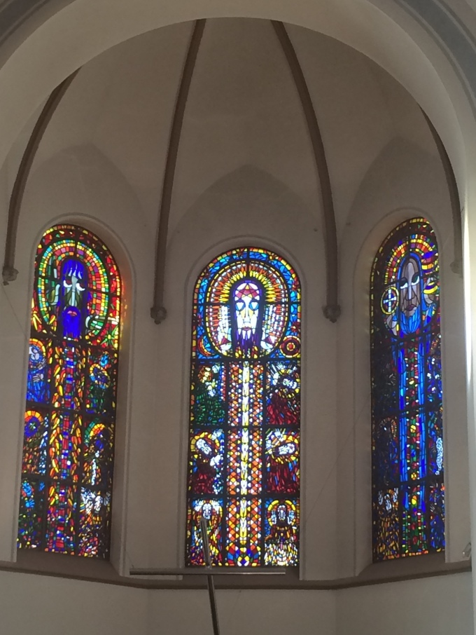 I attended a nice service today and I was very impressed by the unconventional church windows.