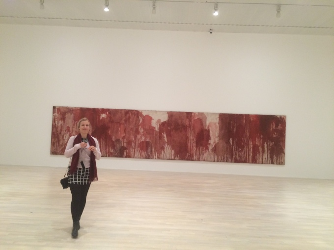 This art work shows blood thrown on a canvas. Terrific.