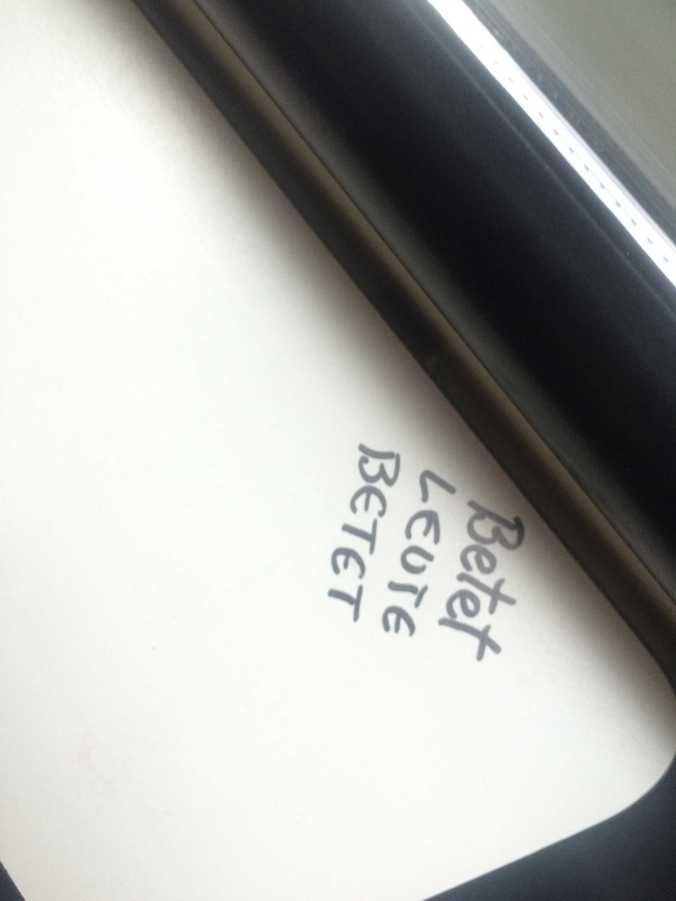 "On the way back, we found this in the tram. ""Pray, folks, pray""."